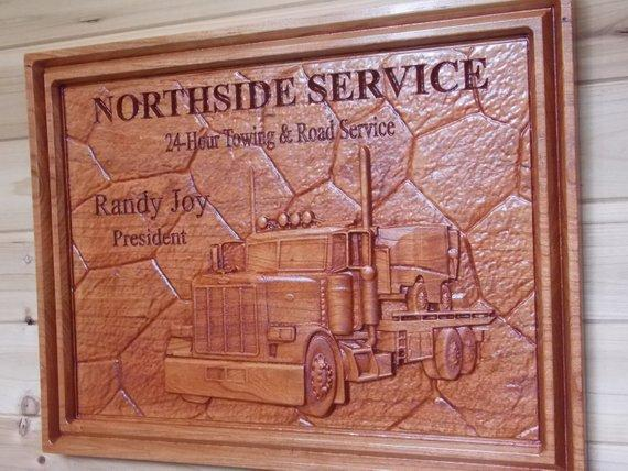 Business Sign: Carved Wooden Signs, Personalized Wooden Signs, Tow Truck  Signs, Office Signs, Custom Wood Carving, Semi Truck Sign