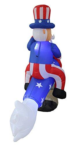 BZB Goods 6 Foot Long Lighted Patriotic Independence Day 4th of July Inflatable Uncle Sam on Rocket Decoration