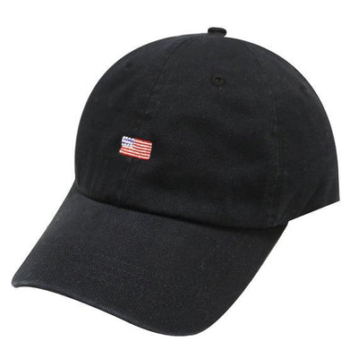 Capsule Design Small American Flag Cotton Baseball Dad Cap Black