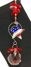 Combined Brands Patriotic Suncatcher With American Flag Heart - Fourth of July, Labor Day, Birthday Sun Catcher Decoration Party Supplies Gift (Red Heart)