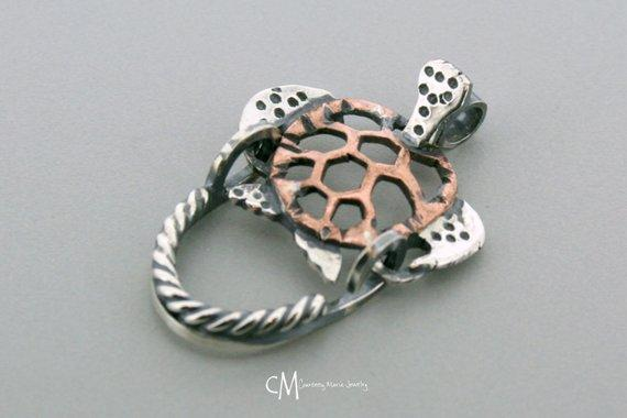 Copper Sea Turtle Pendant - Turtle Pendant - Handmade Turtle Pendant - Charm Holder