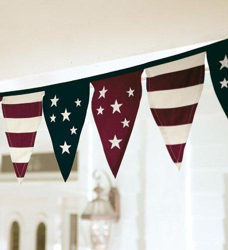 Cotton Duck Stars And Stripes Americana Pennant Bunting With Embroidery