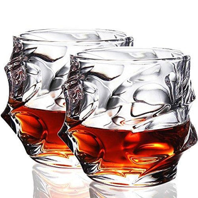 Crystal Whiskey Glasses, 11oz Old Fashioned Glasses Set of 2, Scotch Glasses Liquor Tumblers - Ultra-Clarity Glassware, Everest Shape Glass Drinkware, Unique Elegant Design, Dishwasher Safe