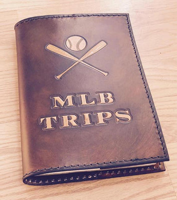 Custom Leather Journal, Leather Notebook, Large Leather Journal, Personalized Journal, Baseball Journal, Baseball Notebook, Scorebook Cover