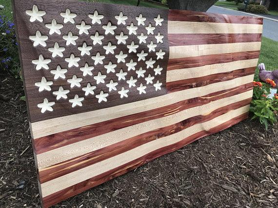 Custom Wooden American Flag Army Air Force Marines Navy Graduation Fathers Day Christmas Retirement Engraved Mothers Day