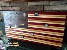 Customizable Wall Mounted Hardwood American Flag Coin Holder