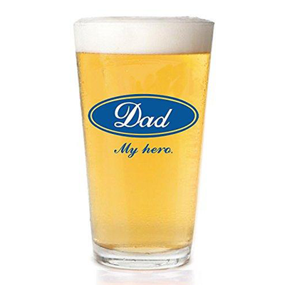 Dad My Hero Beer Glass Present-Dad Gifts from Kids 16 oz.