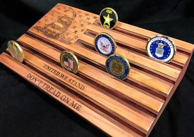 Don't Tread On Me, United We Stand - American Flag, Gadsden Flag - Challenge Coin Display, Military Coin Holder - Customizable, Personalized