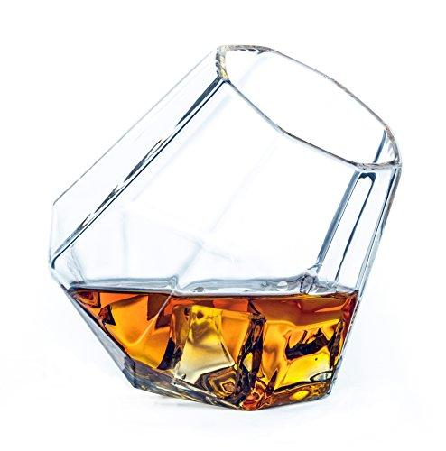 Dragon Glassware Diamond Whiskey Glasses - Old Fashioned Tumblers for Whisky, Wine, Bourbon, Scotch, Brandy - 10 Ounces, Set of 2 (Gift Boxed)