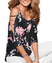DREAGAL Women's Loose Hollowed Out Shoulder Floral Print Blouse Tops