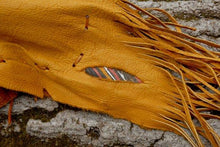 Elk Leather flute bag, Native American styled flute bag, Yellow leather, leather feathers flute bag,flute accessory, Tribal Leather bag