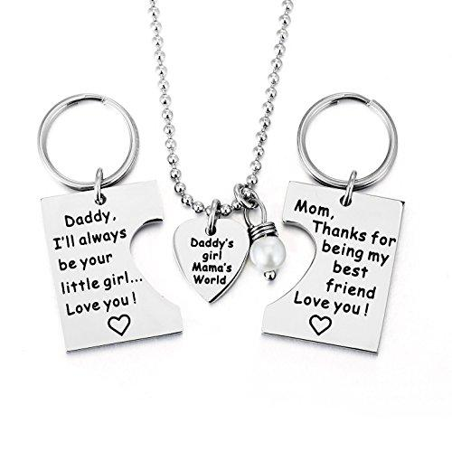 ELOI Gifts for Daughter, Daddy's Girl Mommy's World Necklace Keychain Pendant Jewelry Set Christmas Birthday Gift