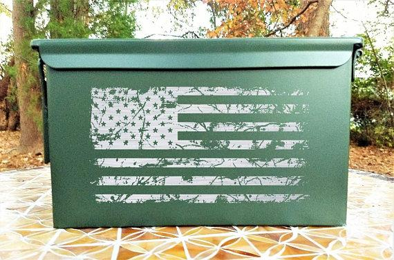 Engraved Steel Ammo Can Tattered American Flag