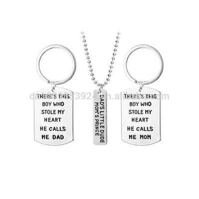 Family Jewelry Keychain Necklace Set Lettered Dads Little Dude Moms Prince There Is This Boy Who Stole My Heart Parents Son Gift