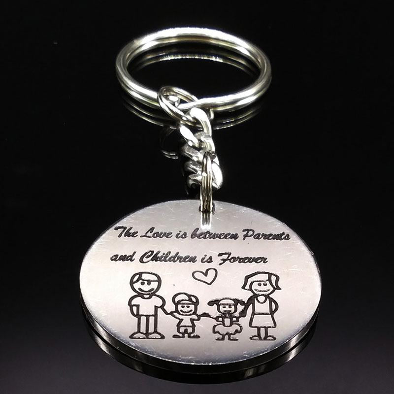 Family Silver Color Stainless Steel Keychain For Women Love in The Parents Children Key Chain Jewelry Mother's Day Gift K72285B