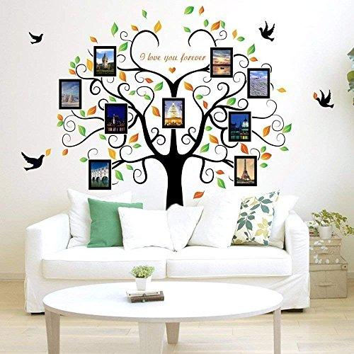 Family Tree Wall Decal 9 Large Photo Pictures Frames. Peel and Stick Wall Decal, Best Removable Wall Decals For Living Room, Bedroom, Kids Rooms Mural Decor - Photo Gallery Frame Sticker