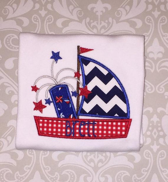 Fireworks Sailboat 4th of July Labor Day Monogrammed Shirt