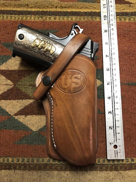 Fits Colt Springfield Ruger RIA Remington Taurus 45 Model 1911 Western Leather Wild Bunch Style Holster