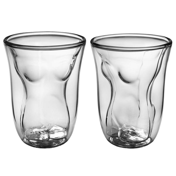 Funny Male Female Shot Glasses 6 Oz 2 Pack | Durable Dual Layered Borosilicate Tumbler Glass | Shooters, Whiskey, Beer, Bachelors & Bachelorettes, Sports Nights, College & Drinking Games by Dopecha