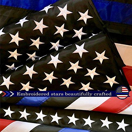 G128 Blue Lives Matter American USA Police Flag EMBROIDERED STARS SEWN STRIPES 3X5 FT 210D Oxford Nylon Brass Grommets - Honoring Men and Women of Law Enforcement Officers Red Black White Blue