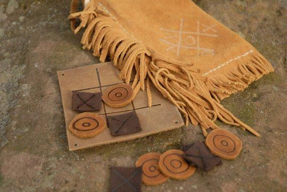 Game Pouch - Tic Tac Toe Pouch - Leather Pouch