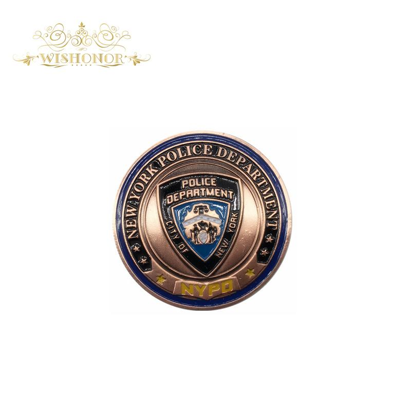 Gift For New York Police Department Bronze Military Coins, Bronze Army Challenge Coins With Round Plastic Box For Collection