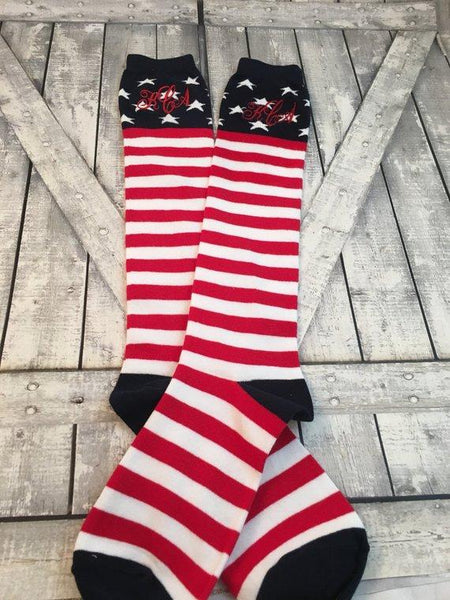 Gift Set - American Flag - Men and Womens Monogram Socks - july wedding - Red White and Blue - fourth of july wedding - second anniversary