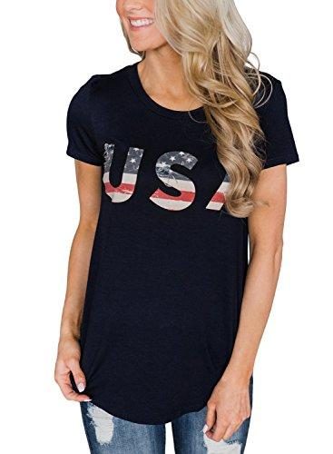Gludear Women American Flag Star Stripes Cold Shoulder T-Shirt Casual Blouse Tops