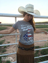 God Bless America polyester cotton heather grey tee / Bronc Rider / American Flag / graphic tee t-shirt