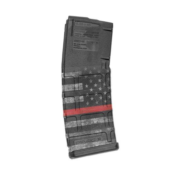 GunSkins AR-15 Mag Skin Specialty Wrap - 3 Pack (Thin Red Line)
