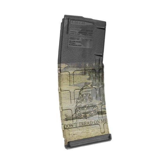 GunSkins AR-15 Mag Skin Specialty Wrap - Singles (Don't Tread On Me)