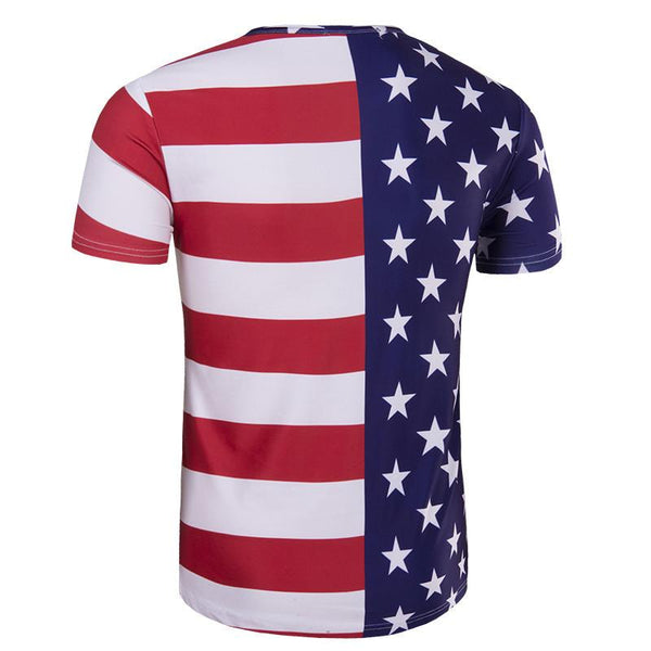 Half Star Half Strip Shirt American Flag T Shirts 3D Printed Tops for Independence Day