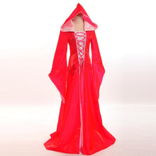 Halloween Costume for Women Retro Victorian Renaissance Medieval Trumpet Sleeve Hooded Gown all saintsDress