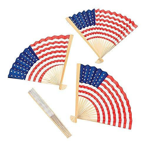 Hand Held Fans With US Flag 4th of July Patriotic Theme (Set of 12)