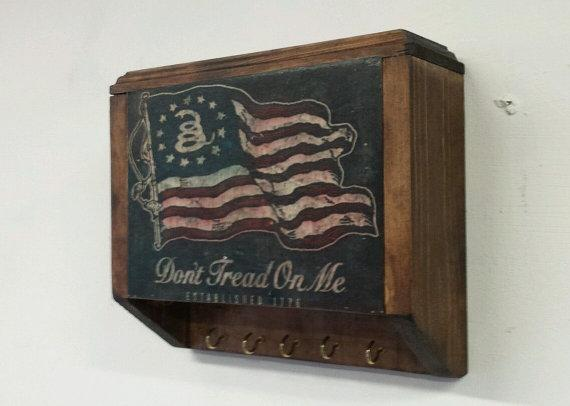Handmade Hidden Gun Safe Rack with Don't Tread on Me Flag Cover