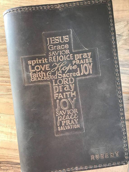 Handmade Leather Bible Cover, KJV Bible Included, Custom Bible Cover, Personalized Bible, Military Bible, Military Gift, Christian Gift