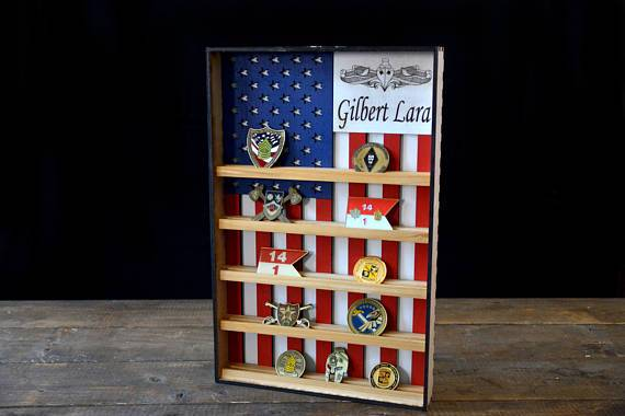 Hanging Wood Military Coin Holder, Engraved military coin holder, coin holder shelf, collectables shelf, American Flag display