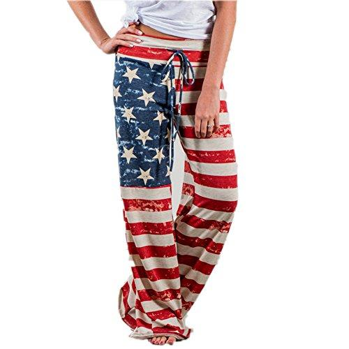 Happy GoGo Askwind 4th of July Women's American Flag Loungewear Trousers Leisure Cotton Bottoms