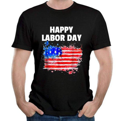 Happy Labor Day American Flag Cotton T-Shirt Tee Round Neck Top Blouse for Men