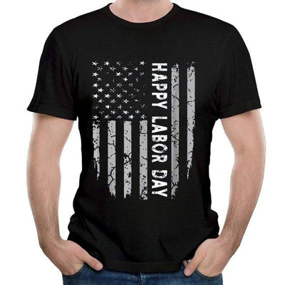 Happy Labor Day American Flag Cotton T-Shirt Tee, Gif For Men
