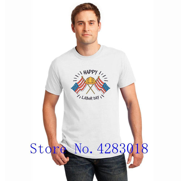 Happy Labor Day T Shirt For Men Round Neck Custom Funny Casual T-Shirt Sunlight Male Big Size Xxxl Hilarious Hip Hop