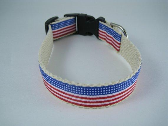 Hemp dog collar - Stars and Stripes Forever American Flag