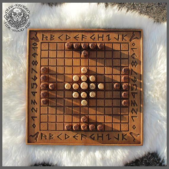 Hnefatafl  Minnesota Viking Traditional Game Strategy Board Odin Home Decor Norse Wood Pagan Carving Heathen Asatru Celtic Norse Rune Thor