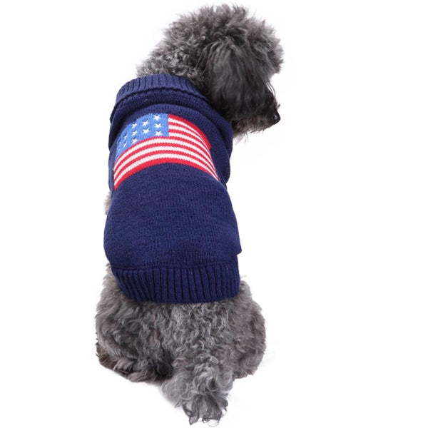 Hot sellers American Flag Pet Knitted Jumper  winter warm England Style Sportwear Stars design Pet Puppy Coat Jacket Puppy