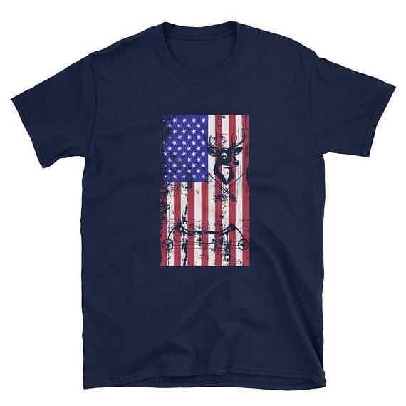 Hunting shirt with American flag - Bow hunting T-Shirt - American hunter shirt - Hunting gear for men and women - Gift for hunters