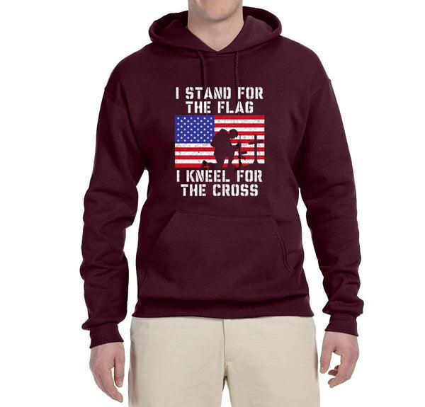 I Stand For The Flag I Kneel For The Cross | Mens Americana / American Pride Hooded Sweatshirt Graphic Hoodie