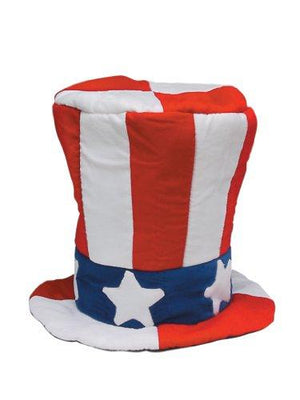 Jacobson Hat Company Men's Velvet Top Hat with US Flag Pattern