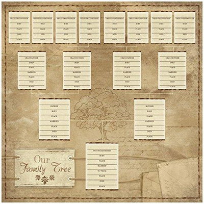 "KAREN FOSTER Ancestry Paper 12""X12""-Our Family Tree Chart 25 per pack"