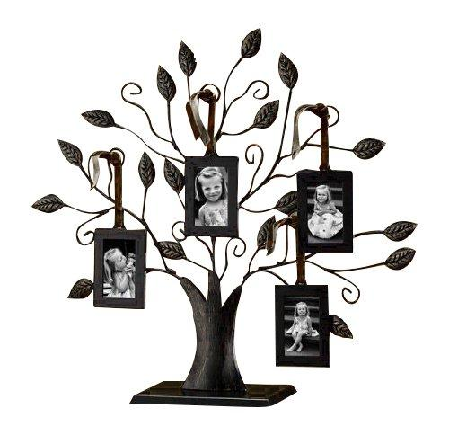 Klikel Bronze Family Tree of Life Centerpiece Display Stand with 4 Hanging Photo Picture Frames, 13