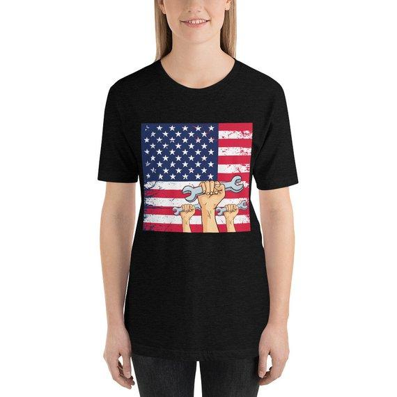 Labor Day Holiday Flag Day American Vintage Shirts Short-Sleeve Unisex T-Shirt